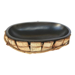 Vintage Hand-Wrapped Wood Bowl W/ Black Insert For Sale