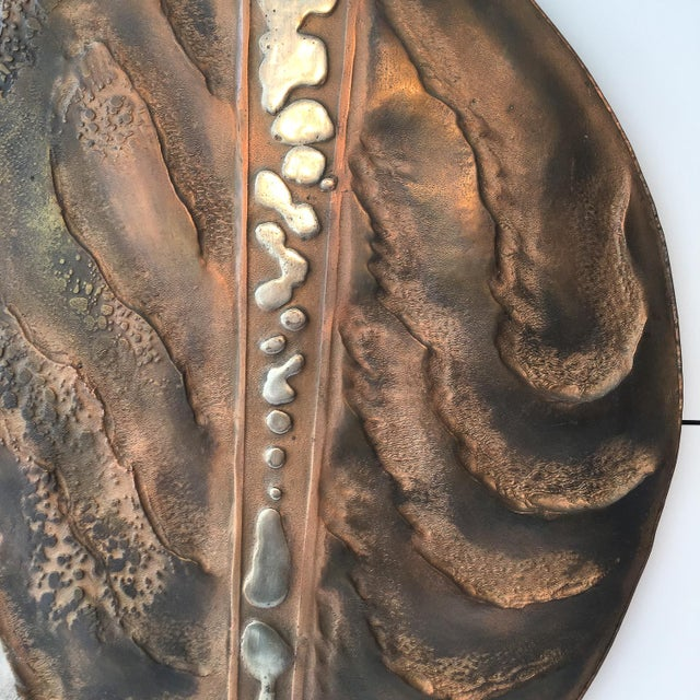 1970s Set of Two Brutalist Mixed Metal Wall Sculptures Signed Wendell For Sale - Image 5 of 13