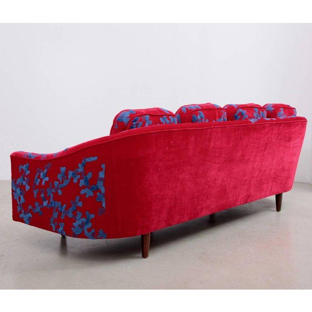 Blue Harvey Probber Sofa with Jupe by Jackie hand embroidered fabric For Sale - Image 8 of 9