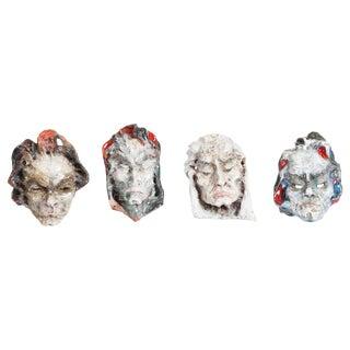 Set of Four Ceramic Masks, Fontana, Italy