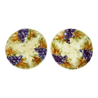 French Grape Majolica Plates - A Pair For Sale