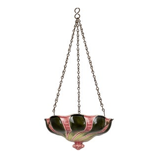 20th Century Vintage French Majolica Hanging Plante For Sale