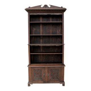 Antique English Carved Oak 19th Century Tall Bookcase Display Shelves Cabinet For Sale
