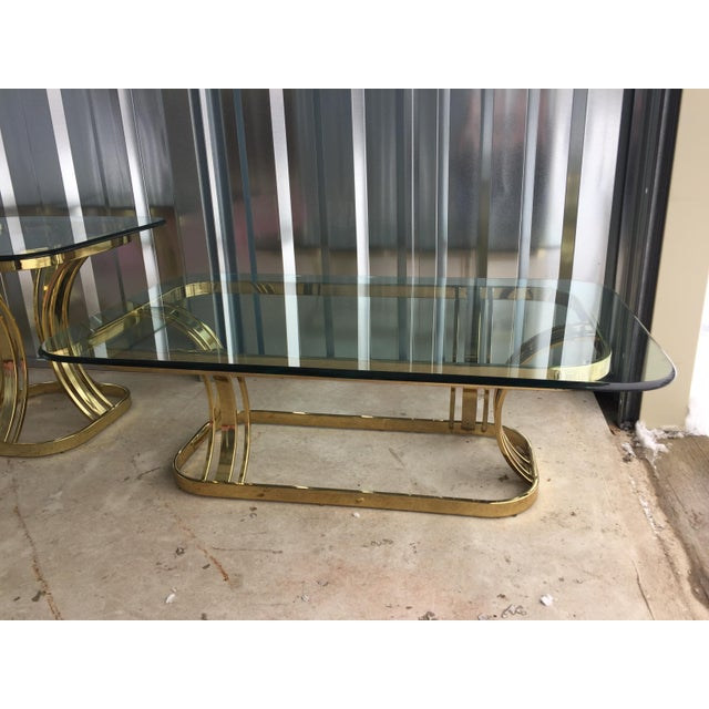 Hollywood Regency Sculptural Gold & Glass Coffee Table - Image 2 of 8
