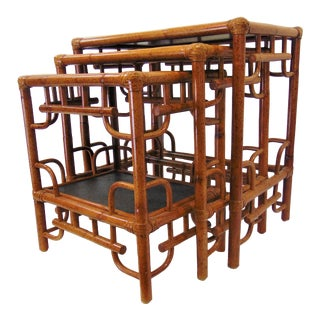 Mid Century Style Rattan & Raffia Nest of Tables - Set of 3 For Sale