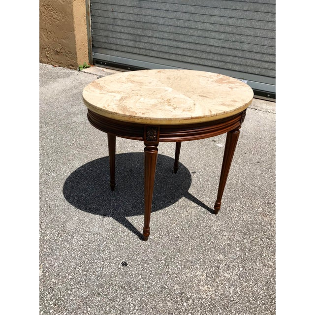 1910s 1910s French Louis XVI Marble Top Side Table For Sale - Image 5 of 13