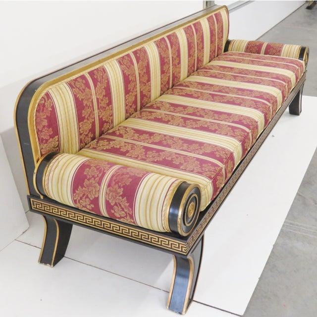 Regency-Style Ebonized & Gilt Fainting Sofa - Image 2 of 5