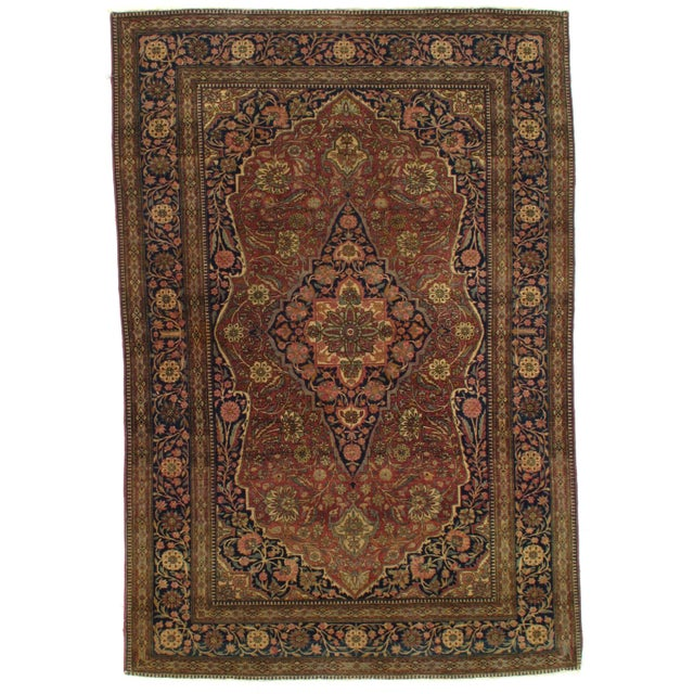 Late 19th Century Antique Persian Mohtasham Kashan Rug - 4′6″ × 6′6″ For Sale In Washington DC - Image 6 of 6