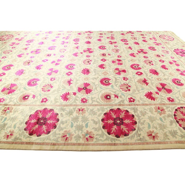 """Contemporary Suzani Hand-Knotted Area Rug 12' 4"""" x 15' 3"""" For Sale - Image 3 of 9"""