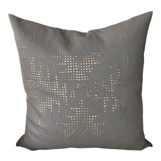 Aviva Stanoff Grey Leather Pillow For Sale