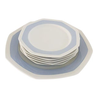 Vintage Mikasa Porcelain Sky Blue & White Plates - Set of 6 For Sale