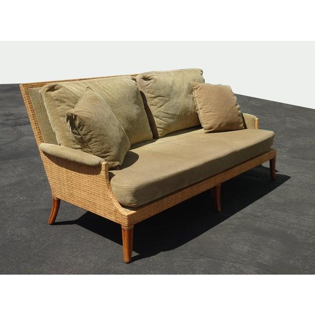 Vintage Mid Century Modern McGuire Sage Green Sofa