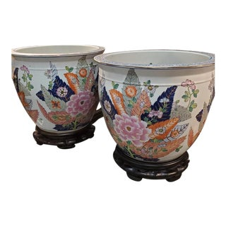 1960s Tobacco Leaf Ceramic Fish Bowl Planter and Stand - a Pair For Sale