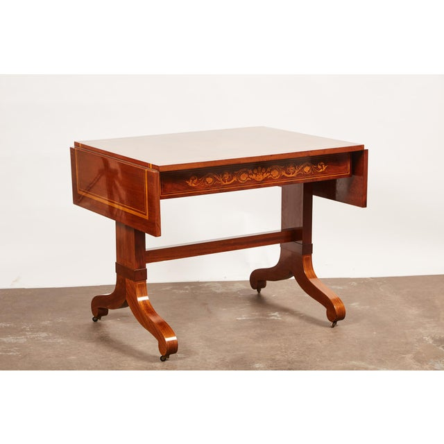 19th Century Danish Mahogany Empire Drop Leaf Table with Intarsia Inlay For Sale - Image 9 of 9