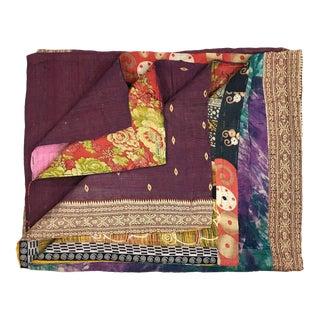 Rug & Relic Blocks of Color and Pattern Vintage Kantha Quilt For Sale