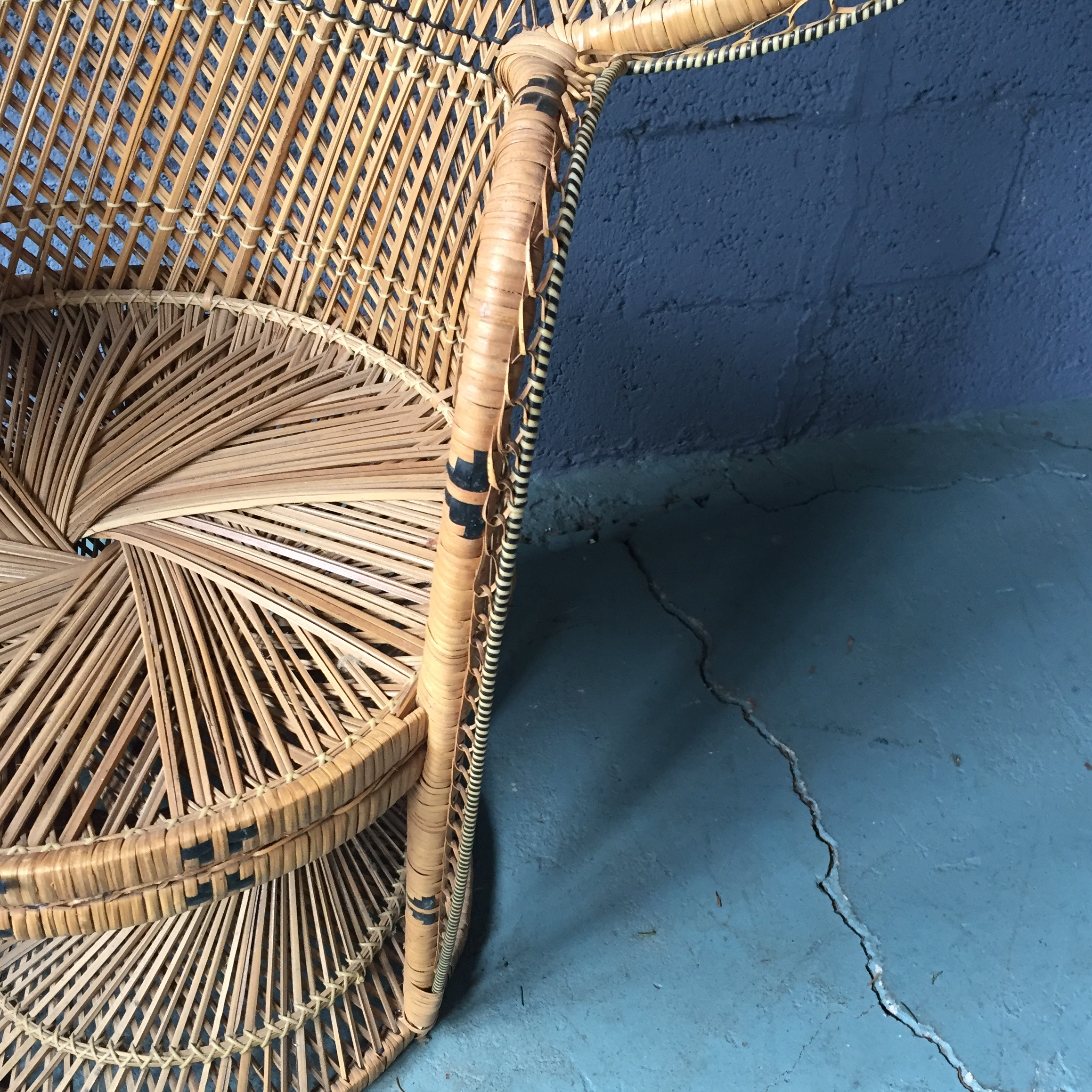 Vintage Rattan Peacock Fan Chair   Image 3 Of 11