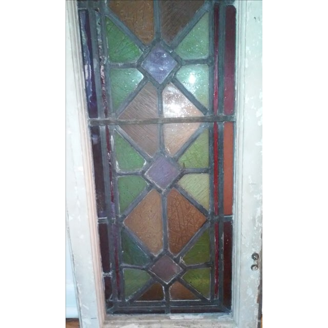 Antique Vintage Art Deco Stained Glass Window - Image 4 of 8