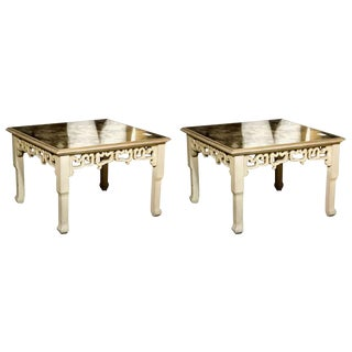 Distressed Mirror Glass Top Squared Asian Style End Tables Stamped Jansen, Pair For Sale