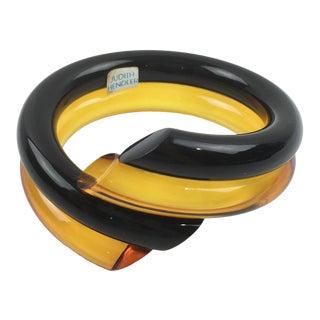 Judith Hendler Lucite Coiled Bracelet Bangle Orange Black For Sale