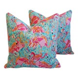 """Image of Designer Tropical Pink Flamingo Feather/Down Pillows 24"""" Square - a Pair For Sale"""