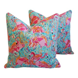 "Designer Tropical Pink Flamingo Feather/Down Pillows 24"" Square - a Pair For Sale"