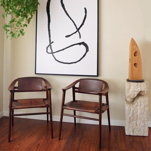 Wood Vintage Rolf Rastad & Adolf Relling for Gustav Bahus Leather Bambi Chairs- a Pair For Sale - Image 7 of 9