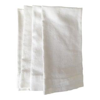 Rh White Linen Hemstitch Napkins, Set of 4 For Sale