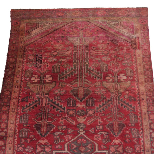 1940s Antique 4 X 8 Red Pink and Brown Hand Knotted Wool Runner Rug For Sale - Image 5 of 7