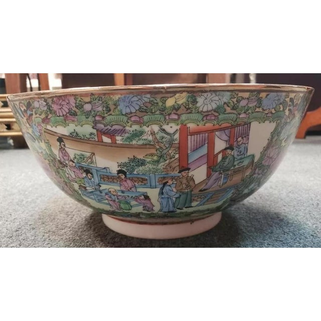 Asian Mid 20th Century Chinese Rose Medallion Porcelain Punch Bowl For Sale - Image 3 of 8