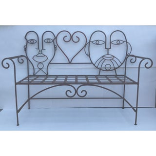 1960s Retro Modern Whimsical Figurative Steel Bench Preview