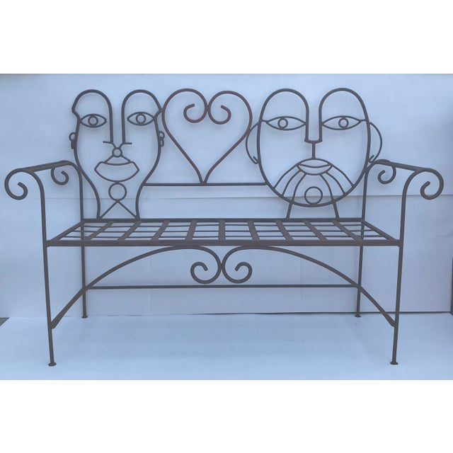 Whimsical Vintage Heavy Steel Bench with slat seat. Circa 1960's - Retro Modern, designed in the style of metal artist...