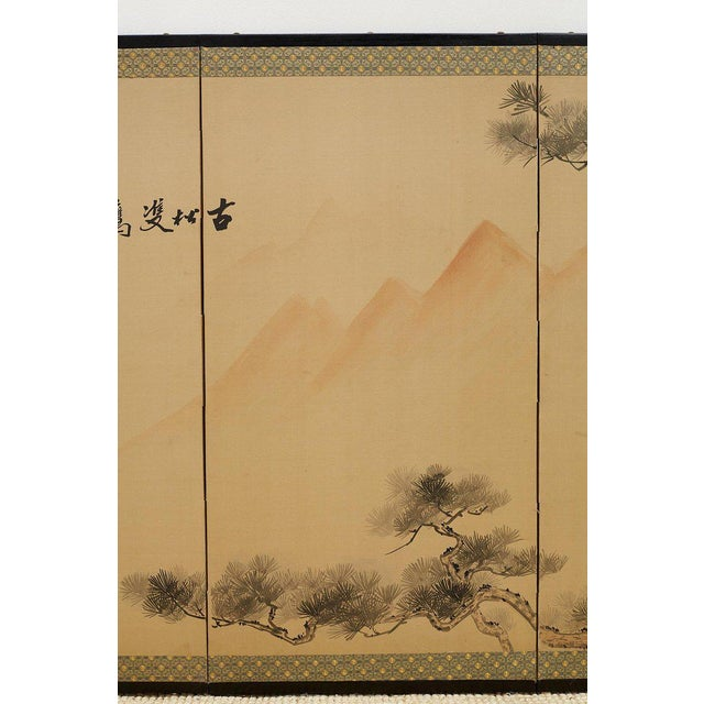 Japanese Four Panel Screen of Hawks in Pine Tree For Sale - Image 4 of 13