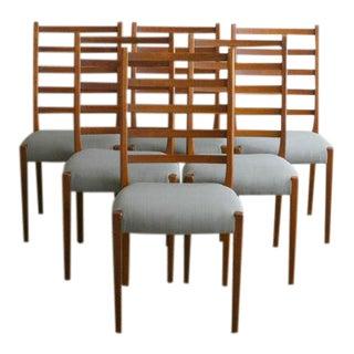 Danish Modern Walnut Ladderback Chairs - Set of 6