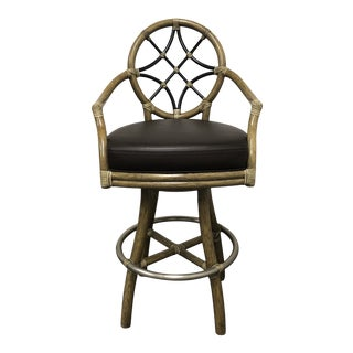 McGuire Villandry Swivel Bamboo + Leather Arm Barstool For Sale