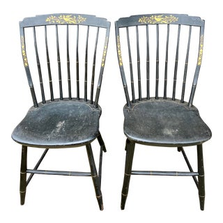 American Windsor Hickory Oakwood Handpainted Stenciled Chairs - a Pair For Sale