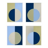 "Image of XL ""Blue and Olive Forever, Set of 4"" Print by Stephanie Henderson, 50"" X 62"" For Sale"