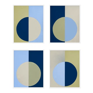 "XL ""Blue and Olive Forever, Set of 4"" Print by Stephanie Henderson, 50"" X 62"" For Sale"