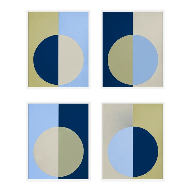"""XL """"Blue and Olive Forever, Set of 4"""" Print by Stephanie Henderson, 50"""" X 62"""" For Sale"""