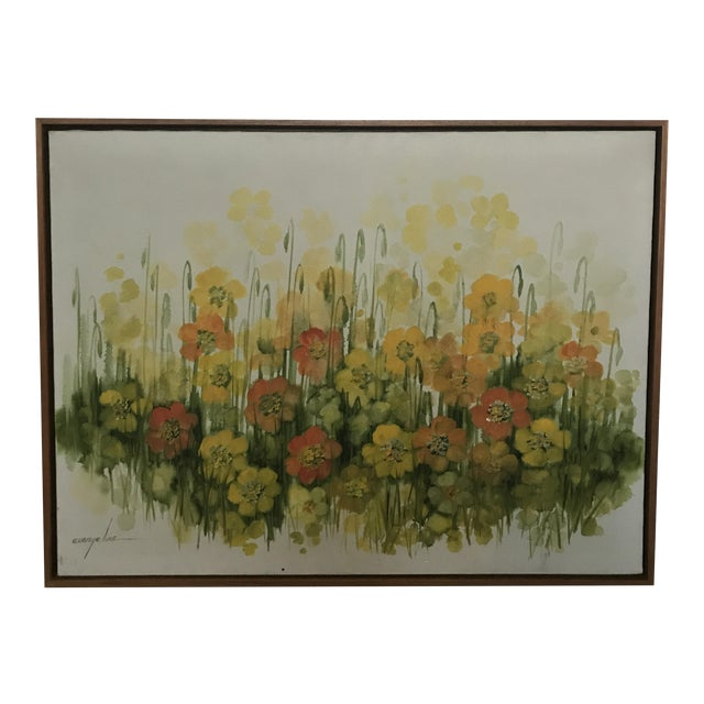 Vintage Mid-Century Large Floral Oil Painting For Sale
