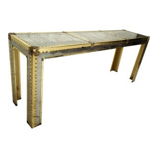 Mid-Century Campaigne Console Table For Sale