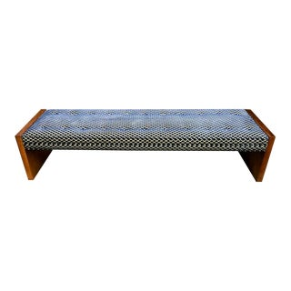 Mid-Century Modern Upholstered Tufted Bench For Sale