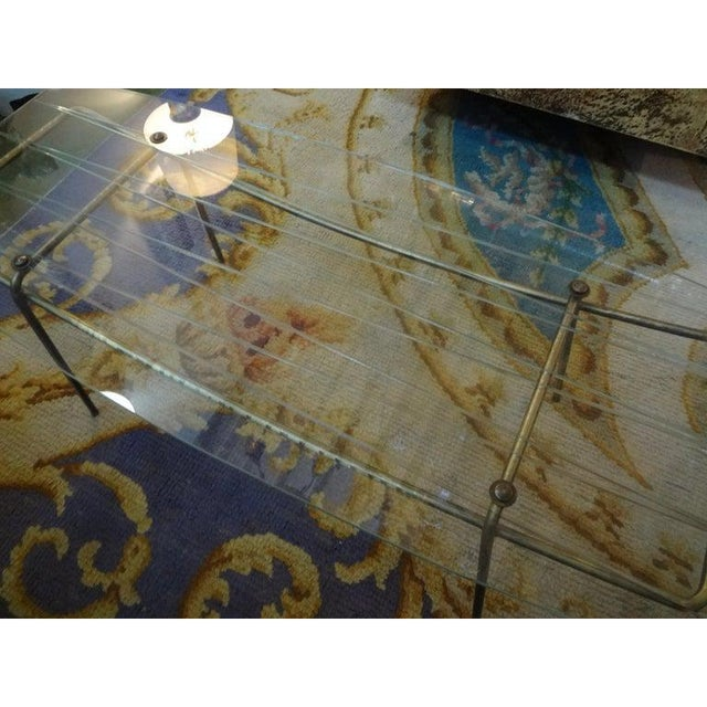 Italian Gio Ponti Inspired Brass and Glass Coffee Table For Sale - Image 9 of 13