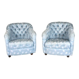 Ward Bennett Button Tufted Barrel Chairs on Casters - a Pair For Sale