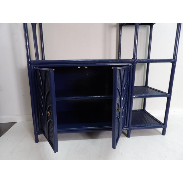Contemporary Navy Lacquer Finish Woven Rattan Etagere For Sale - Image 3 of 6
