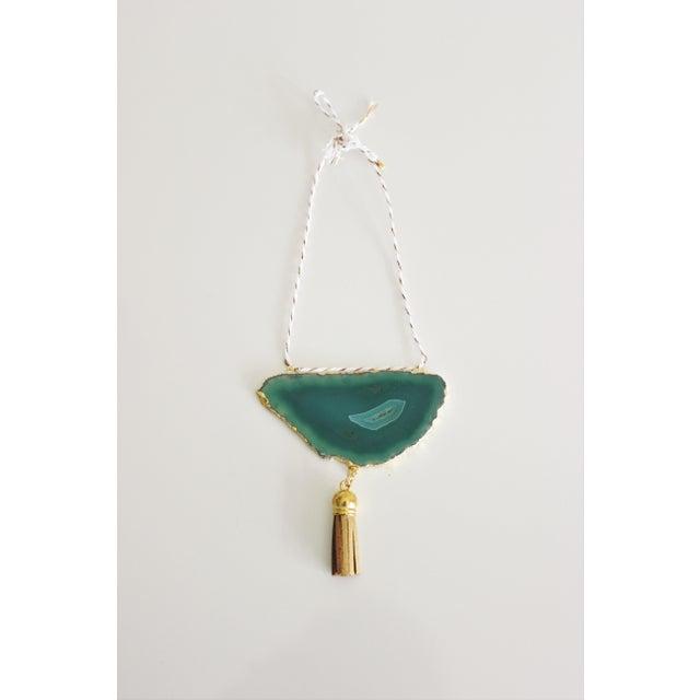 Modern Boho Green/Emerald Agate Holiday Ornament - Image 2 of 6