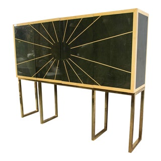 Mid-Century Modern Style Cabinet on Bronze Stand For Sale