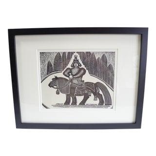 "Vintage Russian Folk Art ""Warrior"" Lithograph Print For Sale"