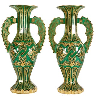 Magnificent Pair of Bohemian Green Gilt and Clear Cut-Glass Vases Alhambra Form For Sale