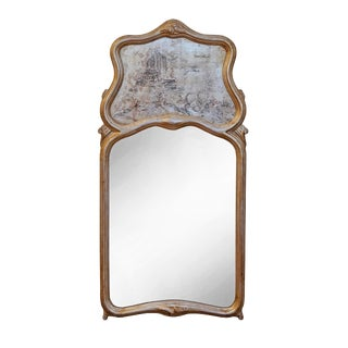Chinoiserie Silver and Gold Gilt Trumeau Mirror