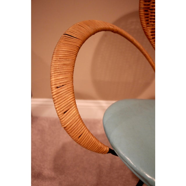 Mid-Century Style Rattan Armchair For Sale - Image 4 of 5